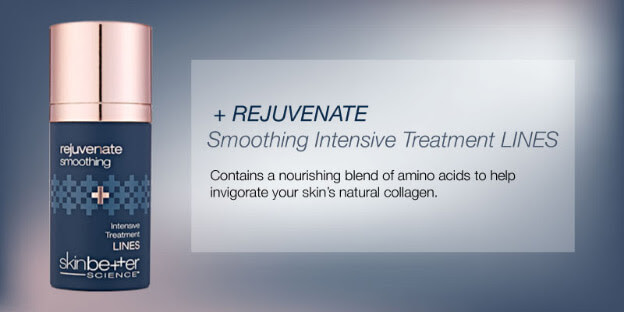 +Rejuvenate Smoothing Intensive Treatment Lines. Contains a nourishing Blend of amino acids to help invigorate your skin's natural collagen